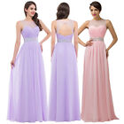 Long BEAD TOP Formal Wedding Evening Party Ball Gown Prom Bridesmaid Dress 6-18+