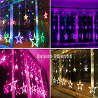 138 LED 3M Christmas Wedding Curtain Window Star Fairy String Lights + Converter