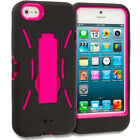 Black Pink Rugged Heavy Duty Hybrid Cover Case w/ KickStand for iPhone 5 5S 5th