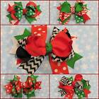 Red Green Black Christmas Holiday Hair Bows 5 Styles
