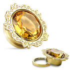 PAIR Gold Lotus Flower w/Topaz Gem Screw Fit Tunnels Plugs Body Jewelry