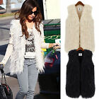 Women Long Hair Jacket Waistcoat Faux Fur Shaggy Vest Sleeveless Coat Plus S-3XL