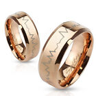 Heartbeat Laser Etched Stainless Steel Rose Gold IP Band Ring
