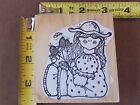 """3 3 8 x 3"""" Girl Holding Flowers Rubber Stamp"""