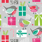 ROBINS & PRESENTS ON GREY - CHRISTMAS DREAMS DASHWOOD 100% COTTON FABRIC BIRDS