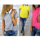womens fashion Loose Chiffon short sleeve top shirt blouse 2016 new uk size 8-14