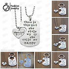 Mummy daddy father daughter KEYRING dog tag 2pc gift jewellery necklace set new