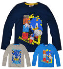 Boys Sonic The Hedgehog Long Sleeved Top New Kids Character T Shirt  3-8 Years