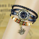 Women Vintage Fashion Crown Bracelet Faux Leather Quartz Wrist Watch Weave
