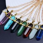Natural Hexagonal Gemstone Healing Point Jewelry Necklace Pendant Golden Chain