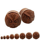 Pair Organic Sono Wood Carved Hoot Owl Animal Inlay Plugs Double Saddle Flare