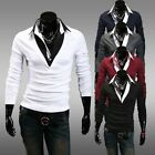 New Casual Men's Tee Tops Fashionable 2 in 1 Long Sleeve T-Shirts Joker Shirts