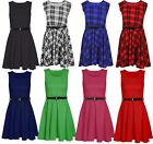 Womens ChristmasTartan Flared Dress Sleeveless Belted Printed Skater lot Top