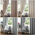 Heavy Textured Satin Jacquard Eyelet Ring Top Curtains Fully Lined Ready Made