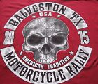 Galveston Texas Motorcycle Rally Tee Shirt Skull And Rockers Red S.S. Lone Star