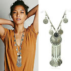 Fashion Bohemian Gypsy Boho Silver Coin Long Chain Tassel Pendant Necklace UKEW