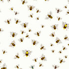 BEES - IVORY WHITE - WILDLIFE BY MAKOWER INPRINT 100% COTTON FABRIC BEE