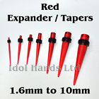 1 x Red Taper / Ear Stretcher. 1.6mm to 10mm