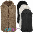 Womens Sherpa Fleece Gilet Bodywarmer Ladies Furry Fleeced Hooded Waistcoat