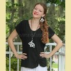 OH MY GAUZE  Cotton Side-Ruched  SWEET  Top  1 (M/L) 2 (L/XL) 3 (1X)  BLACK