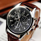 New Fashion Men Date Leather Stainless Steel Military Sport Quartz Wrist Watch Y
