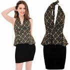 Ladies Halterneck Plunge V Front Gold Glitter Peplum Smart Party Bodycon Dress