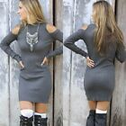 Women's Off Shoulder Long Tops Bodycon Party Evening Cocktail Sweater Mini Dress