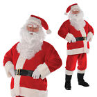Mens Plush Santa Father Christmas Festive Fancy Dress Costume With Wig And Beard