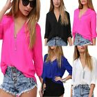 Sun Sheer Light Weight Blouse Casual Long Sleeve Summer V Neck Top AU sz 6-14