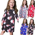 Hot Girls Baby Long Sleeve Christmas Snowman Print Dress Xmas Party Swing Dress