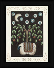 Penny Rug Moonlit Sheep Donna Atkins 16x12 Folk Art Painting Framed Art Print