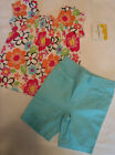 JUMPING BEANS Baby Girls 6-9 Month Blue Capri Floral Shirt Summer Outfit NWT