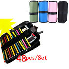 Canvas Curtain Sketch Holder Pouch Roll Pen Case Bag Storage For Marco Pencil 48