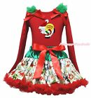 Xmas Yellow Gift Bag Santa Claus Red Top Snowman Skirt Girl Clothing Outfit 1-8Y