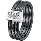 Ceramic Ring Mens Womens Shine Crystal Enagement Black 3 in 1 Wedding Band 6-11