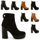 NEW WOMENS LADIES CHUNKY BLOCK HEEL GRIP SOLE CHELSEA ANKLE BOOTS SHOES SIZE