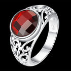 925Sterling Silver Jewelry Zircon Nobal Red Round Stone Women Ring #7 #8 RB734