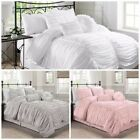 Chezmoi Collection 7 Piece Shabby Chic Ruched Ruffle Textured Duvet Cover Set
