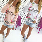 Women's Floral Print Loose Long Sleeve Casual Blouse Shirt Tops Fashion T-shirt