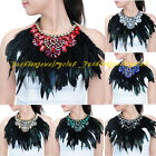 Fashion Black Artificial Feather Grass Crystal Cotton Chunky Choker Bib Necklace
