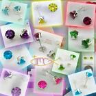 6mm Round BIRTHSTONE EARRINGS in Sterling Silver 925 Settings - USA SELLER!