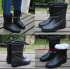 Women's Rain Boots Winter Warm Fur Lined Snow Boots Mid Calf Boots Casual Shoes