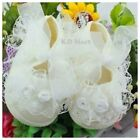 New Baby Girls Wedding Christening Baptism Party Lace Shoes white/ivory/pink0-9M