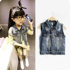Kids Toddlers Girls Quality Cute Smile Image Wash Jeans Denim Vest 2-7 T S669