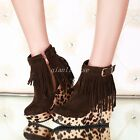 Sweet Women Ankle Boots Tassel Wedge High Heel Side Zip Buckles Ankle Boot Shoes