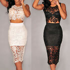 Club Knee-Length Floral Lace Top Evening Party Skirt Sexy Black Set White Dress