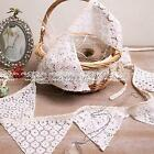 10 Flags White Cotton Linen Lace Handmade Vintage Triangle Flag Bunting Banners