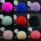 Cute Genuine Rabbit Fur Ball PomPom Car Keychain Handbag Charm Key Ring