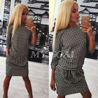 Women Lady Houndstooth  Long Sleeve Evening Party  Pleated Short Mini  Dress