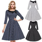 Womens Black White Navy Blue Flared 1950s Pin Up Dress Vintage Retro Cocktail